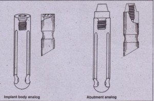 FIG. 14-16_.Laboratory analogs. laboratory analogs represent either implant or abutment in-laboratory model. Analog represents top of implant (left). Analog represents top of abutment (right).