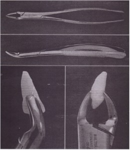 A. Superior view of no. 150 forceps. 8, Side view of no. 150 forceps. C and 0, No. 150 forceps adapted to maxillary .central incisor.
