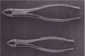1505 (bottom) is smaller version ·of no. 150 forceps (top) and , is used for primary teeth.