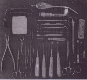 Surgical extraction tray adds necessary instrumentation to reflect soft tissue flaps, remove· bone, section teeth, retrieve.roots; and suture flaps back into position.