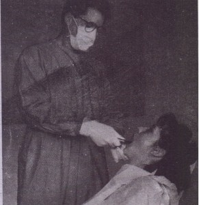 Surgeon, prepared by wearing protective eyeglasses, mask, and gloves. Surgeons should have short or pinned-back hair and should wear long-sleeved smocks that are changeiJ daily or . sooner if they become soiled. Patient should nave full, waterproof drape.