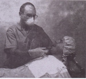 In seated position, patient is positioned as low as possible so that mouth is level with surgeon's elbow
