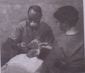 For removal of mandibular posterior teeth, patient's head is turned toward surgeon.