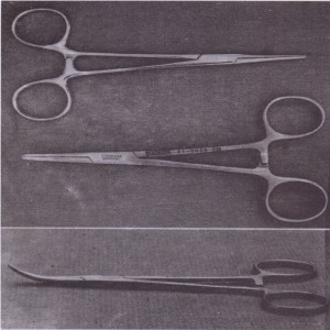 A, Hemostats (top view) used in oral surgery. B, Curved hemostat (side view).