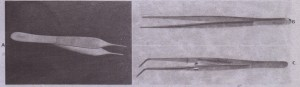 A, Small, delicate Adson tissue forceps are used to gently stabilize soft tissue for suturing or dissection. 8, The Stillies pickup is longer than the Adson pickup and is used to handle tissue in the more posterior aspect of the mouth ,C The college pliers is an angled forceps that is used for picking up small objects in the mouth or from the Mayo tray stand.