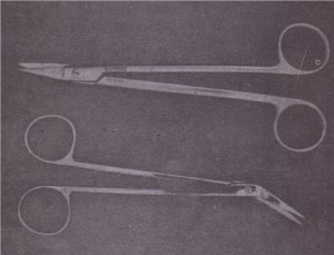 Suture scissors have long handles and short blades: Blades may he angled slightly in either of two directions.