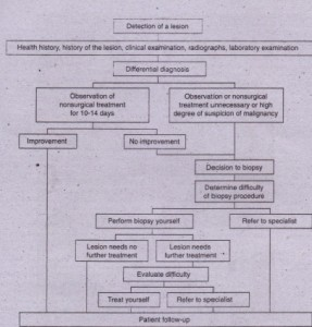 FIG.21-1 Decision tree for treatment of oral lesions.
