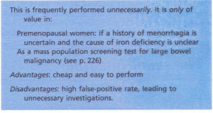 Measurement of faecal occult blood.