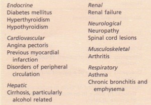 Medical conditions affecting sexual performance.