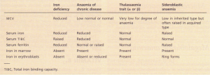 Differential diagnosis of microcytic anaemia.