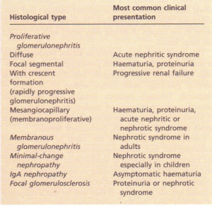 Correlation between the histological type of glomerulonephritis and the clinical picture.