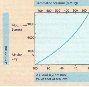 Diagram to show the decrease in oxygen and barometric pressure with increasing altitude.
