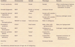 Disorders of sexual differentiation.